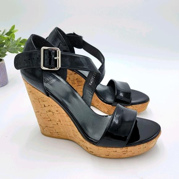 Stuart Weitzman Patent Leather Wedge Sandal